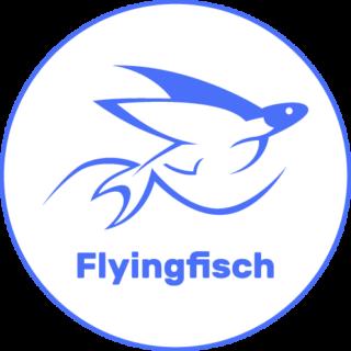 Flying Fisch GmbH - frischer Fisch Lieferservice, Fischgroßhandel und Fischladen in Berlin Logo rund weiß